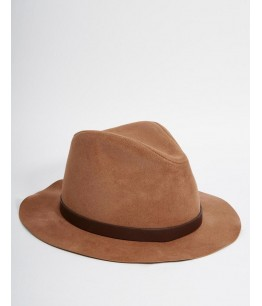 Fedora Hat In Camel Faux Suede