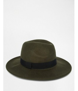 Fedora Hat In Khaki Felt