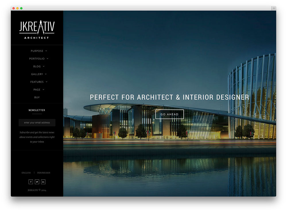 30 architecture responsive wordpress themes for architect for Architecture design sites