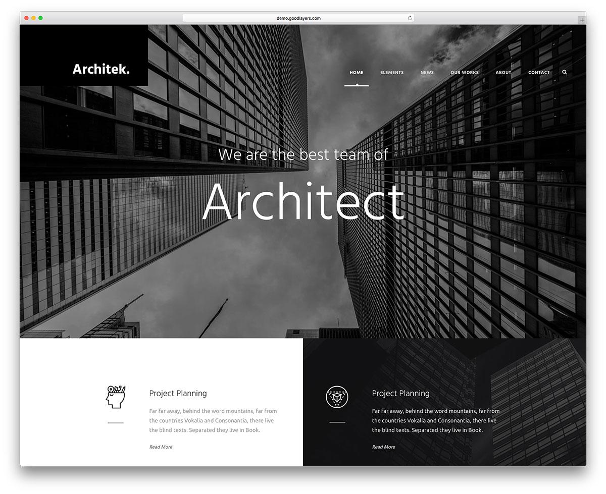 Architecture website templates themeforest bauhaus architecture.