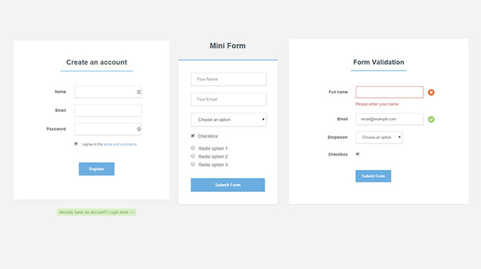 login and registration form in html template