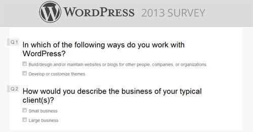 wordpress CSS survey form