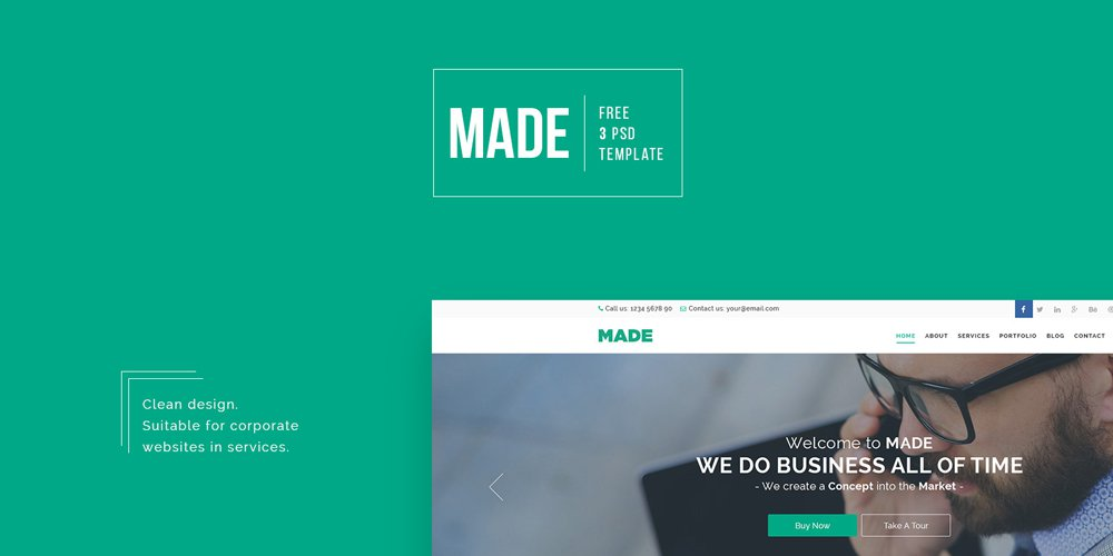 Made – Free Business Web Template PSD