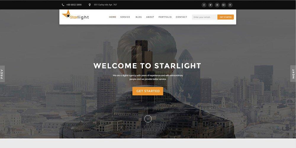 Starlight – Free Corporate Portfolio Template PSD